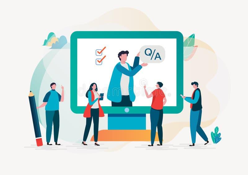 Fråga och svar Online-granskning forskning val Plan grafisk design för tecknad filmtecken royaltyfri illustrationer