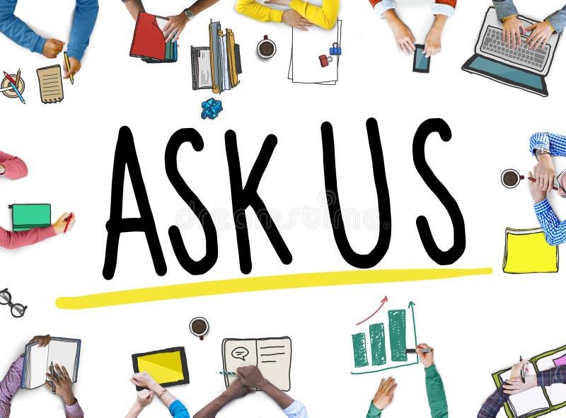 Fråga oss att hjälpa att stötta informationsbegrepp om svar fotografering för bildbyråer