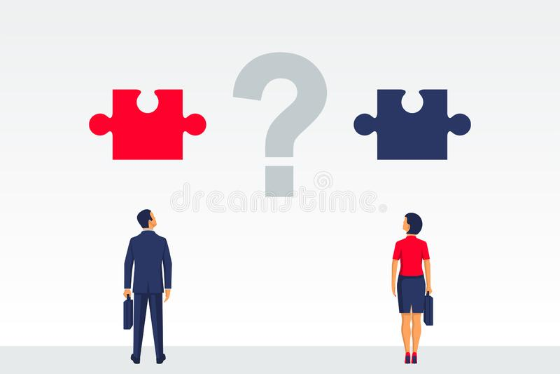 Frågan är hur man organiserar samarbete stock illustrationer