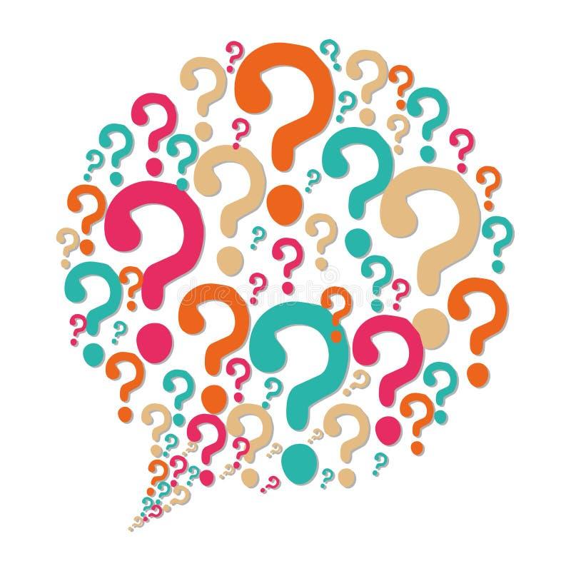 Fråge- och lösningssymboler stock illustrationer