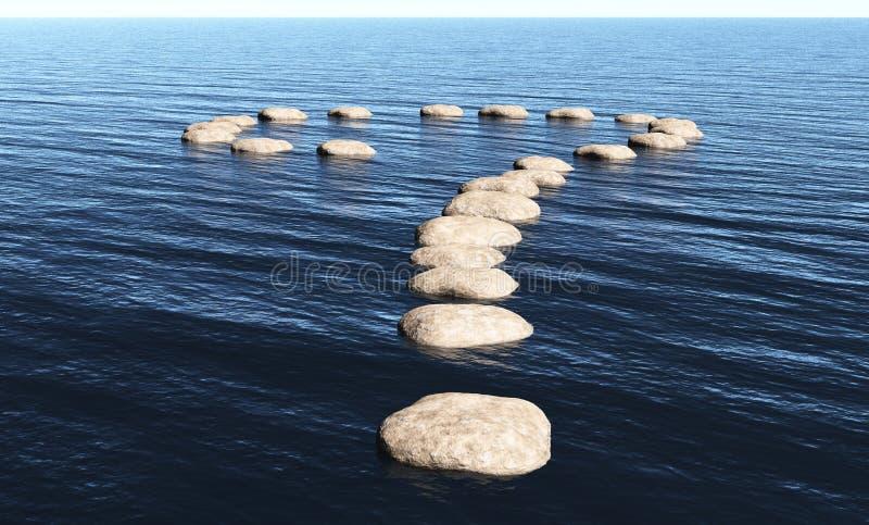 Frågefläck av stenar på vattnet vektor illustrationer