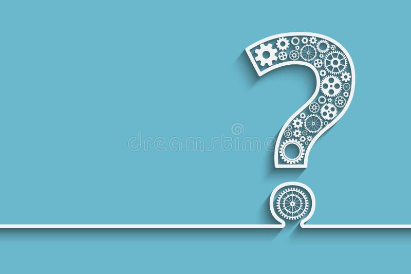 Frågefläck från kugghjul royaltyfri illustrationer