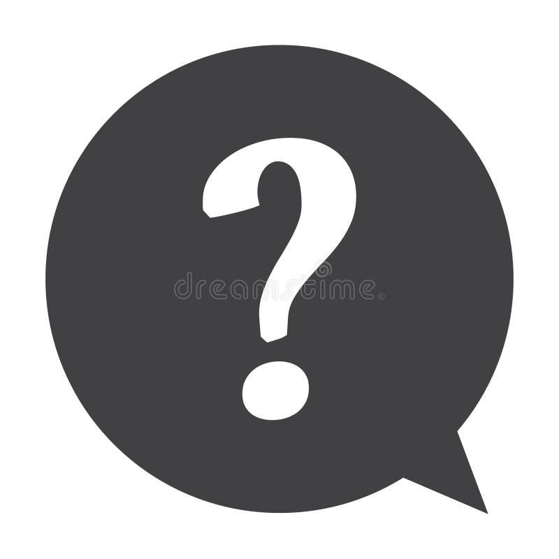 Frågefläck i en symbol för anförandebubblavektor stock illustrationer