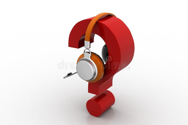 Frågefläck i hörlurar on-line servicebegrepp stock illustrationer