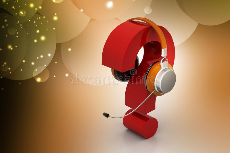 Frågefläck i hörlurar on-line servicebegrepp vektor illustrationer