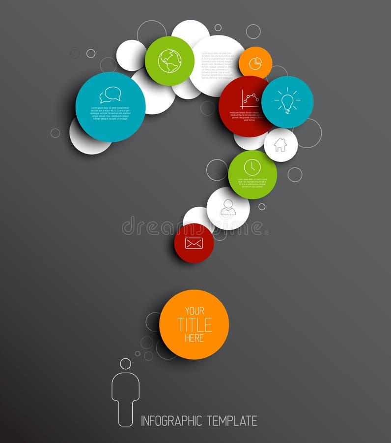 Frågefläck - mörkt vektorabstrakt begrepp cirklar den infographic mallen royaltyfri illustrationer