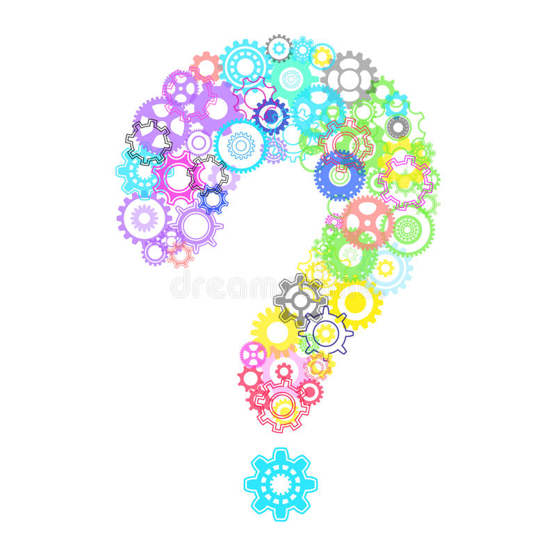 Frågefläck med kuggehjul stock illustrationer
