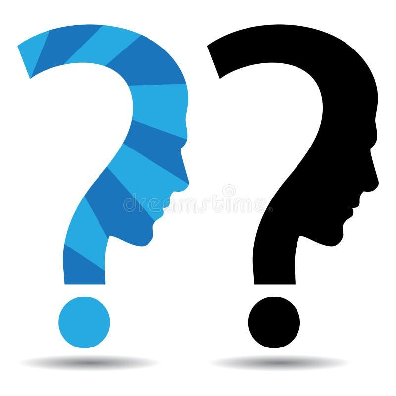 Frågefläck med manhuvudet royaltyfri illustrationer