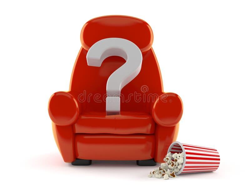 Frågefläck med teaterfåtöljen och popcorn stock illustrationer