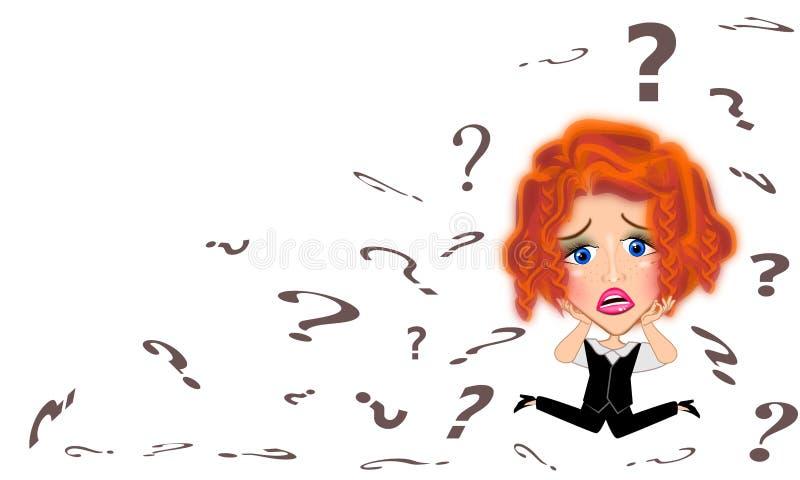 Frågefläck och affärskvinna stock illustrationer