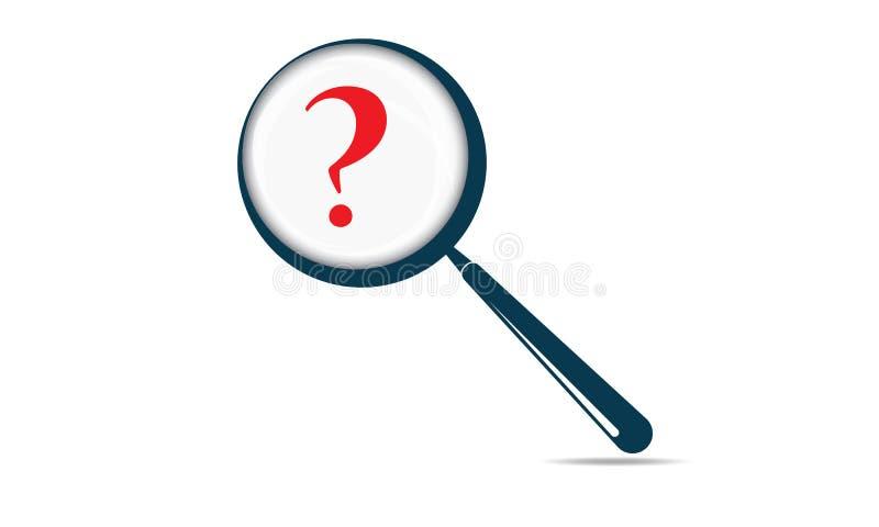Frågefläck och förstoringsglas - frågeMark Is Searching By Magnifying exponeringsglas vektor illustrationer