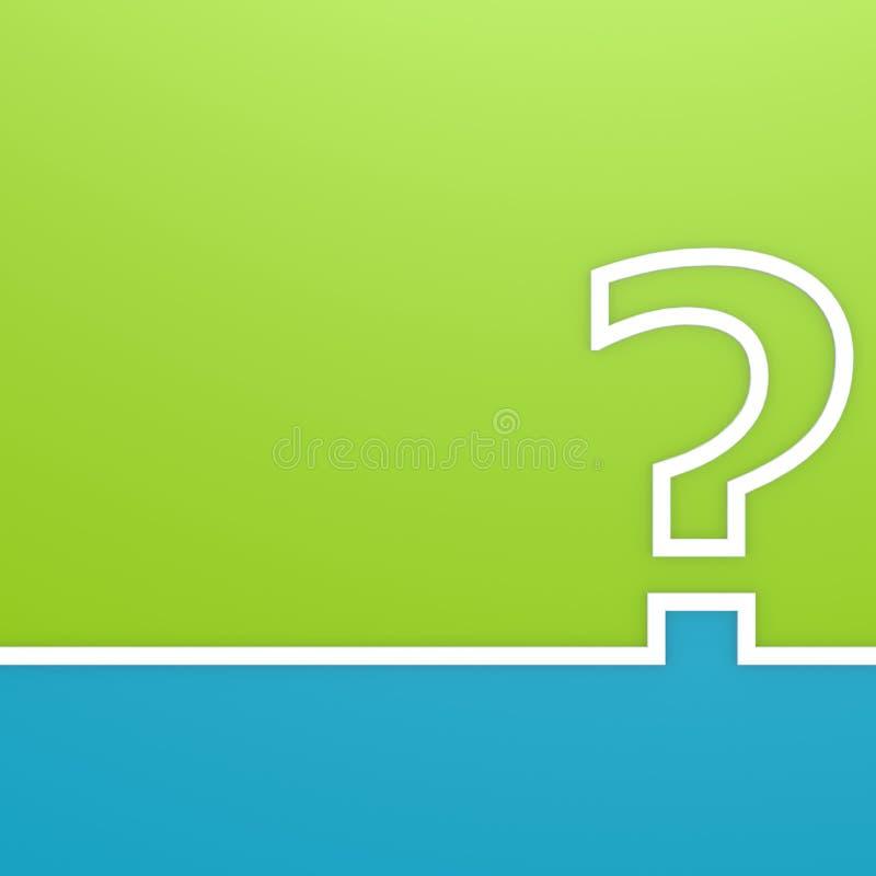 Frågefläck på gräsplan- och blåttbakgrund stock illustrationer
