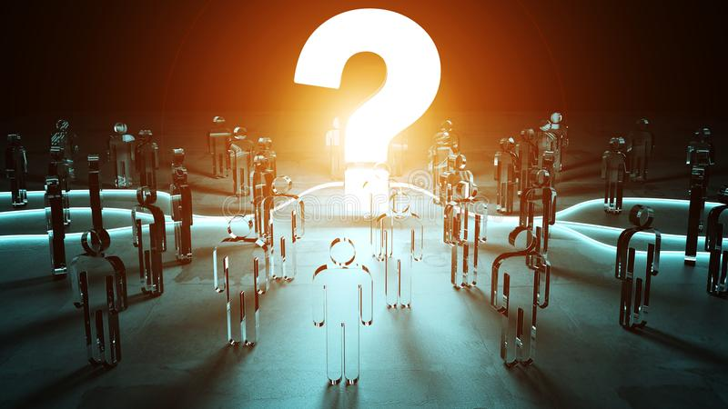 Frågefläck som exponerar en tolkning för grupp människor 3D royaltyfri illustrationer