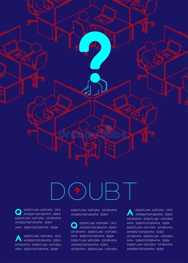 Frågefläcken med pictogramen för tvivelmansymbolen, samkväm utfärdar: Illustration för design för orientering för sida för kontor vektor illustrationer