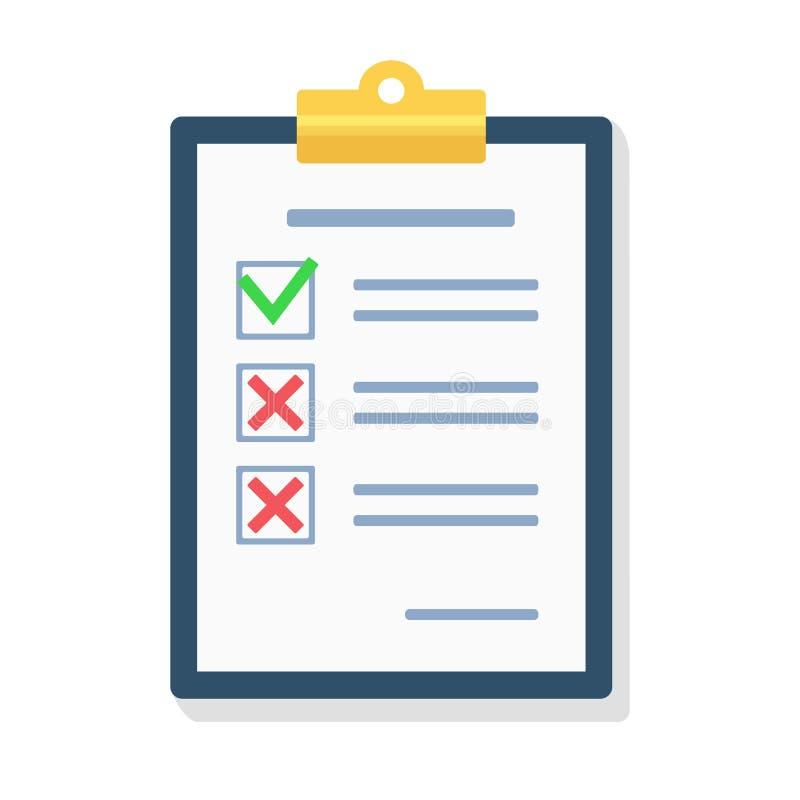 Frågeformulär granskning, skrivplatta, stil V för lägenhet för symbol för uppgiftslista vektor illustrationer