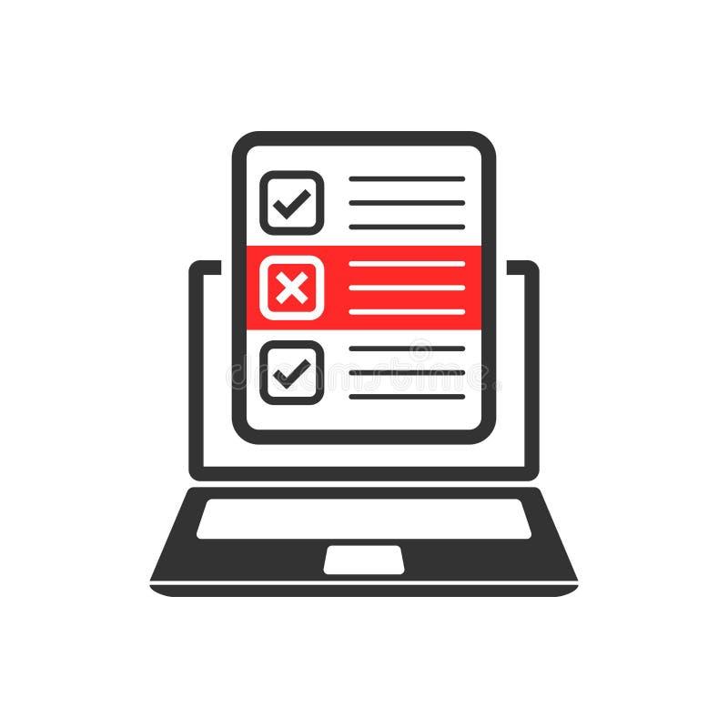 Frågeformulärbärbar datorsymbol i plan stil Online-granskningsvektorillustration på vit isolerad bakgrund Kontrollistarapportaffä stock illustrationer