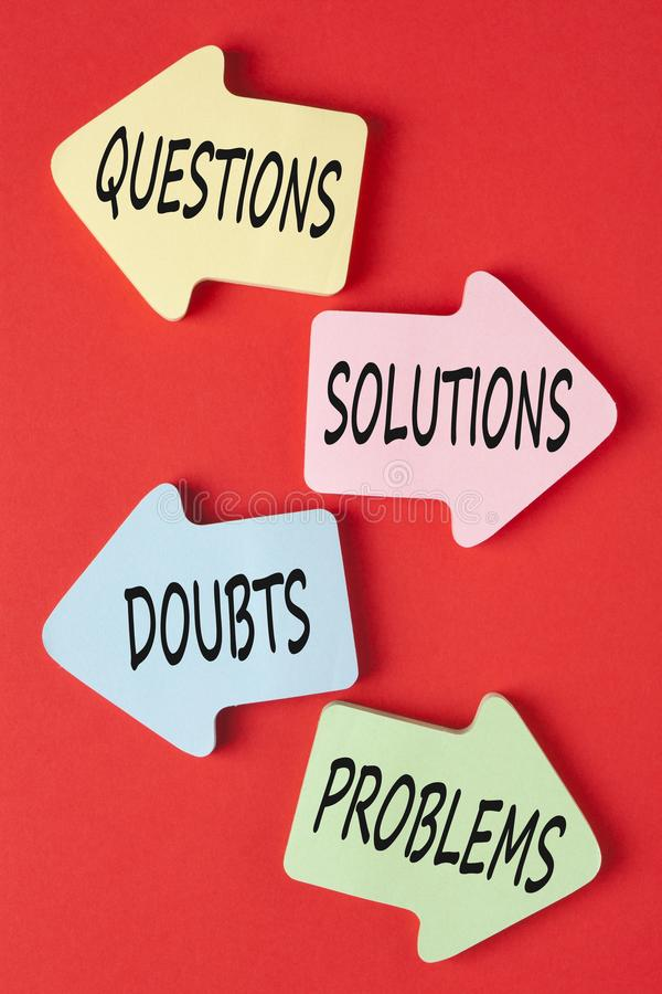 Frågelösningar tvivlar problembegrepp arkivfoto