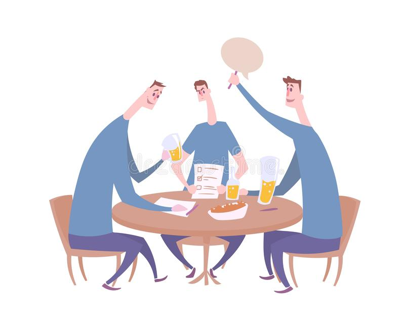 Frågesportlag som ger svaret Frågesportnatt i stången, småsakerhändelse med tre spelare som sitter vid tabellen med drinkar och royaltyfri illustrationer