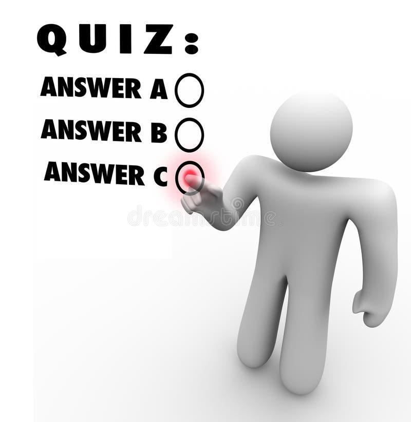 Frågesportmultiple som väljer det bästa svarsprovet royaltyfri illustrationer