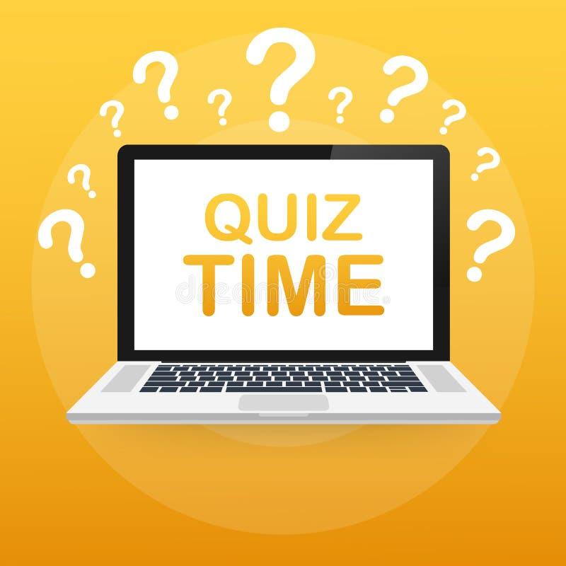 Frågesporttid Frågesport som är online- på bärbara datorn r Prov granskning, examenvektorbegrepp royaltyfri illustrationer