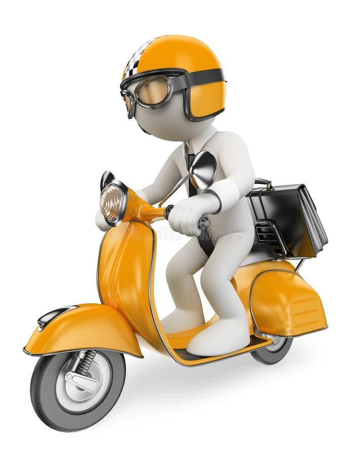 frågewhite för folk 3d Affärsman på en motosparkcykel stock illustrationer