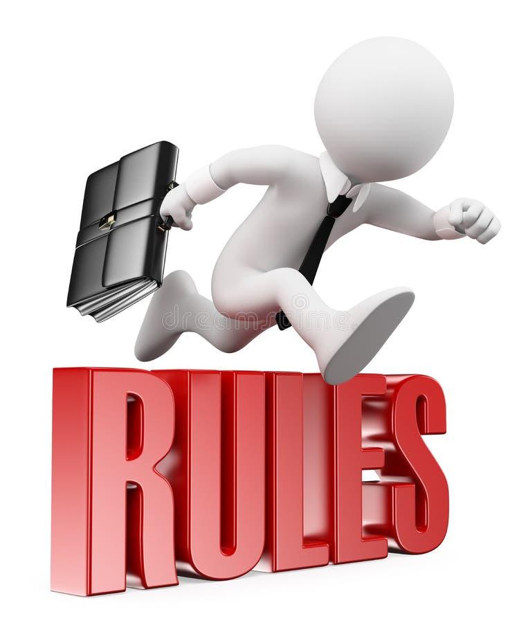 frågewhite för folk 3d Affärsman som bryter reglerna royaltyfri illustrationer