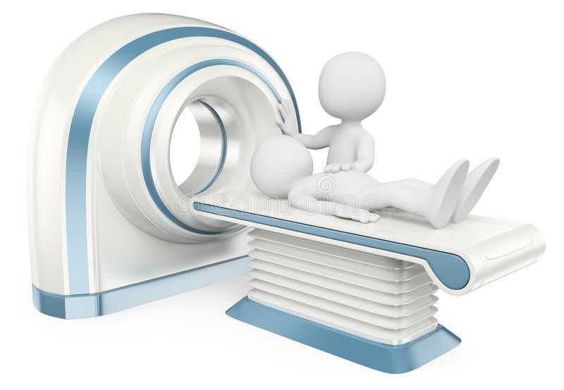 frågewhite för folk 3d Beräknad tomography CT stock illustrationer