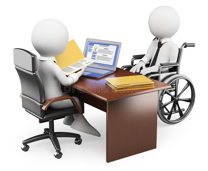 frågewhite för folk 3d Handikappad person i jobbintervju stock illustrationer