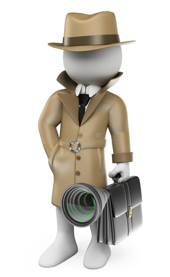 frågewhite för folk 3d Industriellt spionage kriminalare stock illustrationer