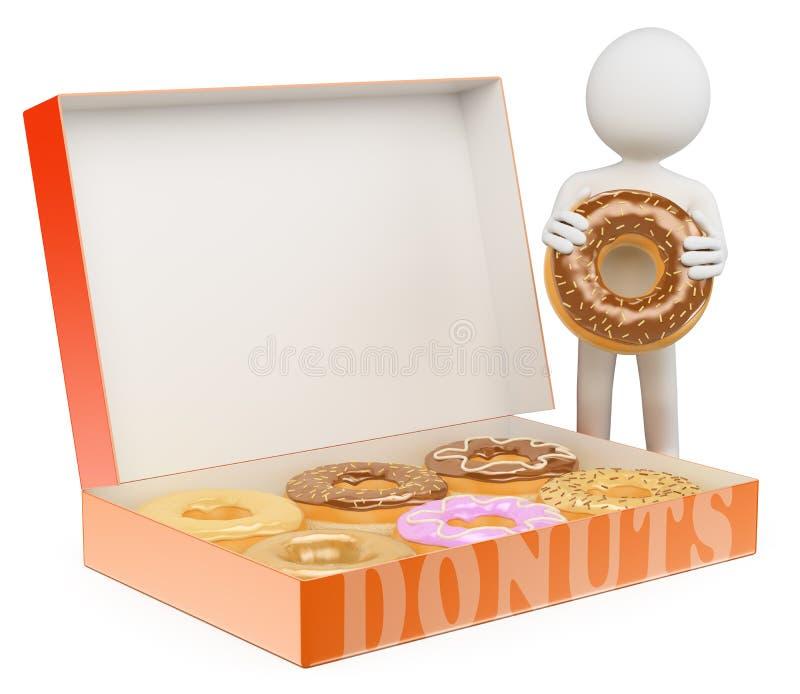 frågewhite för folk 3d Man med en ask av donuts stock illustrationer