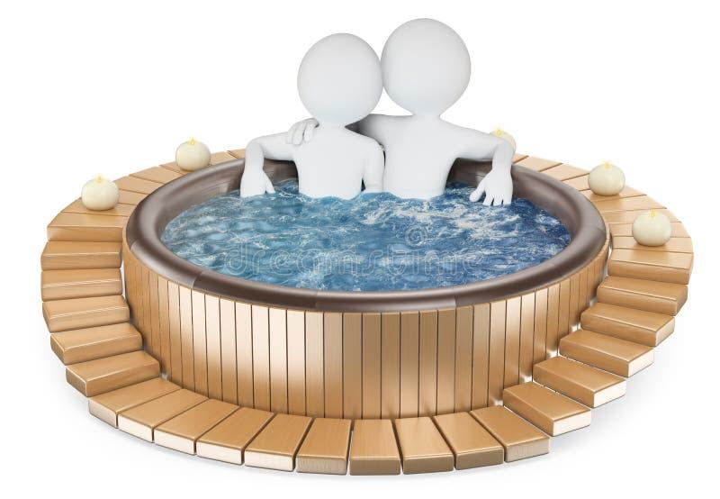 frågewhite för folk 3d Par som kopplar av i en bubbelpool royaltyfri illustrationer