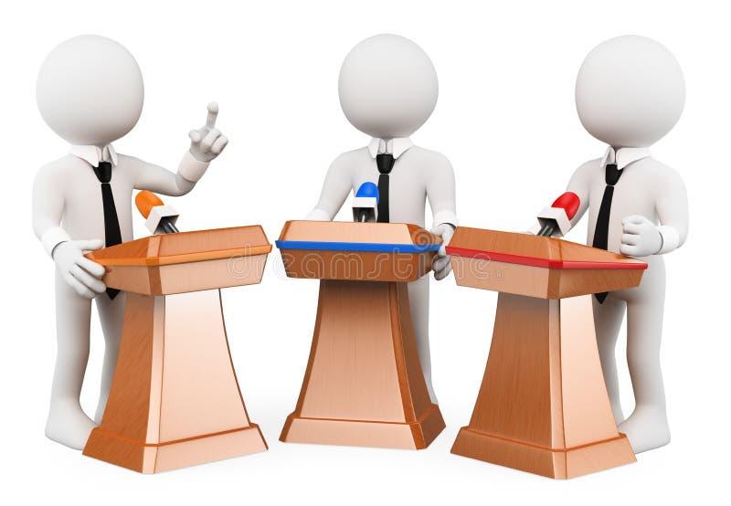 frågewhite för folk 3d Politisk debatt vektor illustrationer