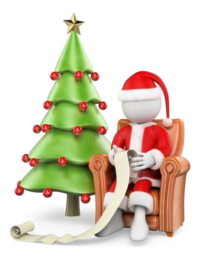 frågewhite för folk 3d Santa Claus på hans läs- wishlist för soffa stock illustrationer
