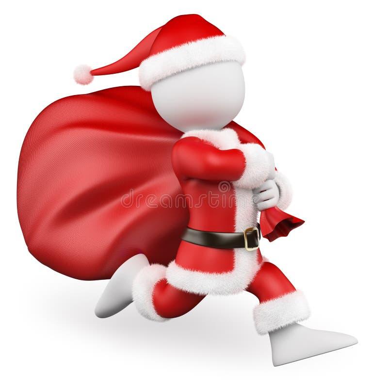 frågewhite för folk 3d Santa Claus spring med den stora påsen som är full av gåvor royaltyfri illustrationer