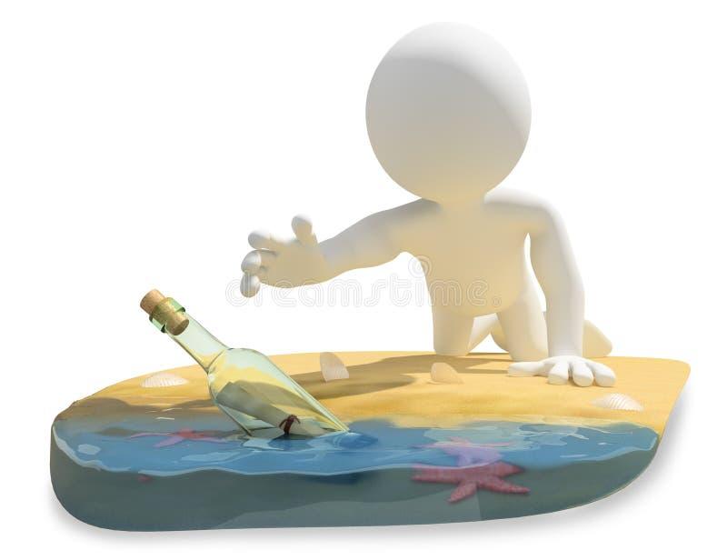 frågewhite för folk 3d skjutit grunt för meddelande för fält för strandflaskdjup horisontal stock illustrationer