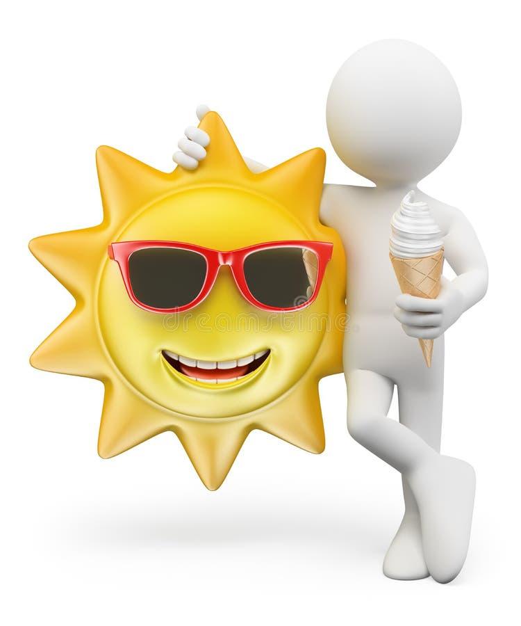 frågewhite för folk 3d varm sommar för dag vektor illustrationer