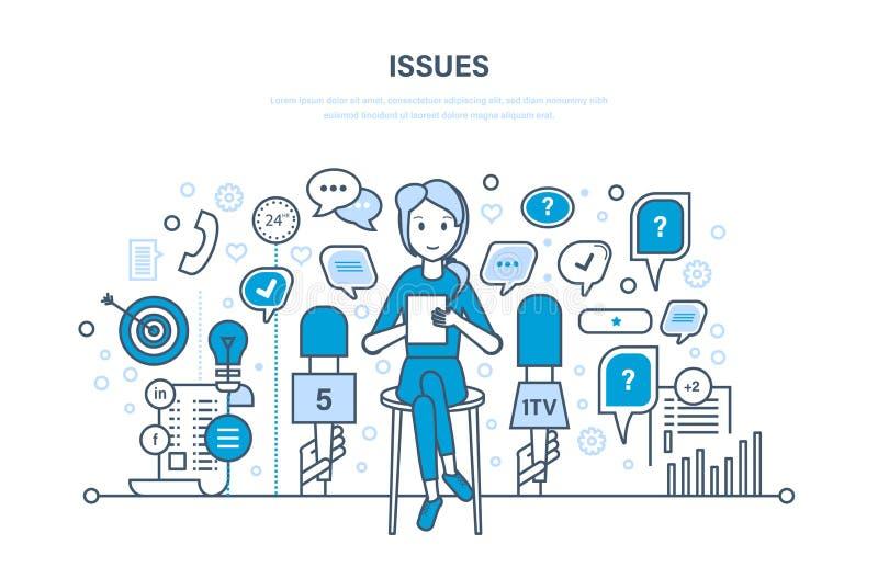 Frågor och intervjuer, kommunikationer, informationsutbyte Dialoganförandebubblor royaltyfri illustrationer
