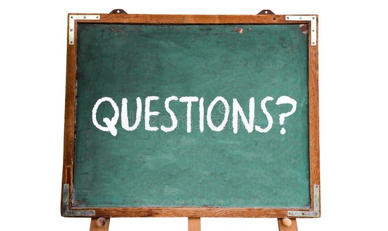 Frågor? smsa ordmeddelandet i vit krita som är skriftlig på svart tavla eller en svart tavla för grön gammal grungy tappning en t arkivfoton