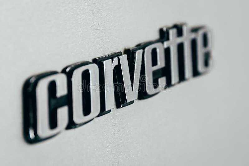 Från 1953 är korvetten en sportbil som tillverkas av Chevrolet uppdelning av den amerikanska automatiska konglomeratet General Mo royaltyfria bilder