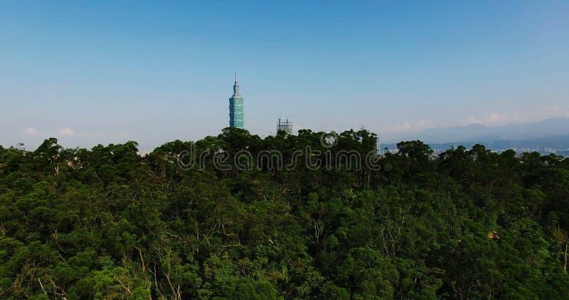 Från bergflyg in i den Taipei staden Taiwan lager videofilmer