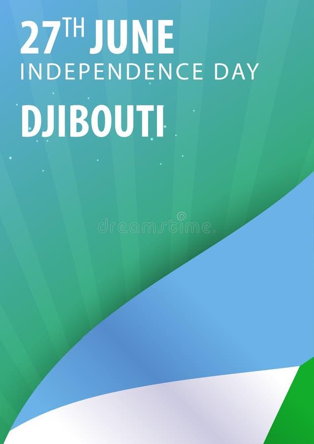 Från Djibouti självständighetsdagen Flagga och patriotiskt baner royaltyfri illustrationer