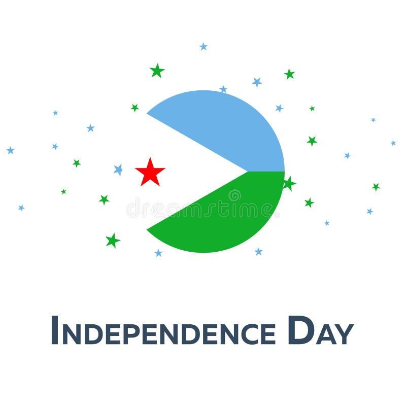 Från Djibouti självständighetsdagen patriotiskt baner också vektor för coreldrawillustration royaltyfri illustrationer