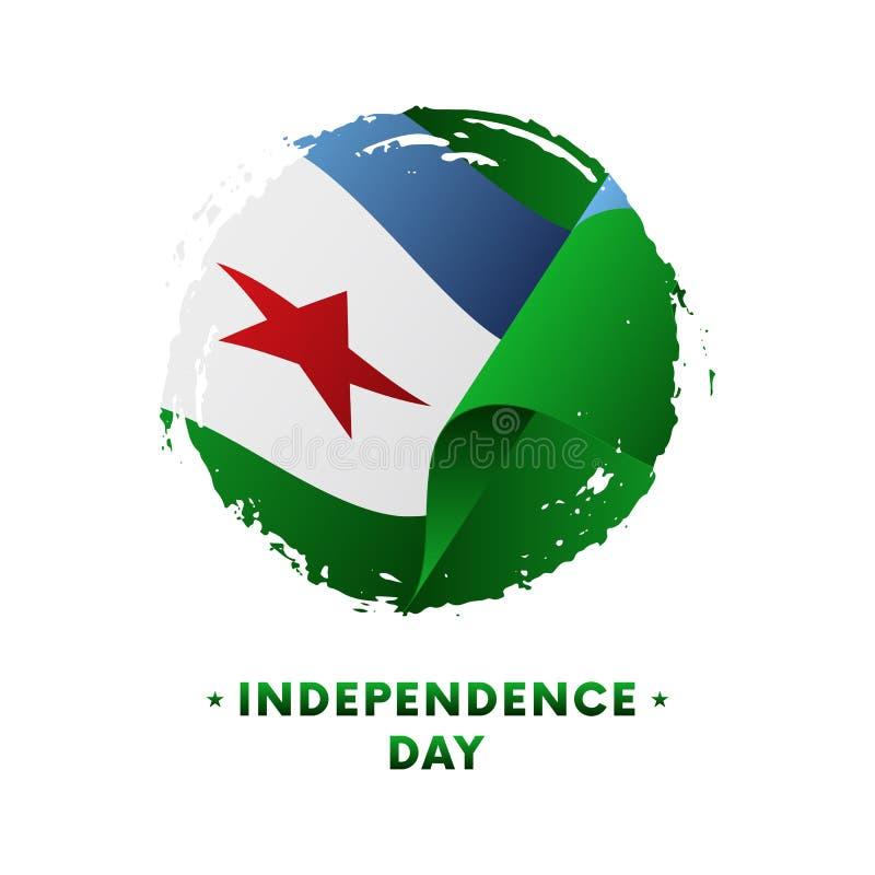 Från Djibouti självständighetsdagenberöm för baner eller för affisch Från Djibouti vinkande flagga, borsteslaglängdbakgrund också royaltyfri illustrationer