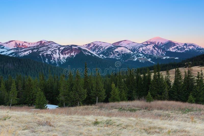 Från gräsmattan öppnar en panoramautsikt av bergen med snö täckte hackor som är upplyst vid morgonsolstrålarna arkivfoto