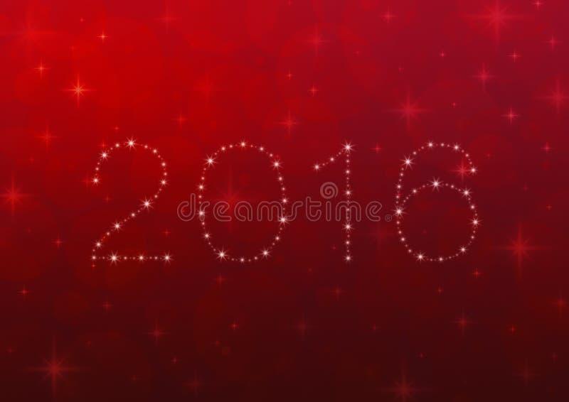 2016 från härliga ljusa stjärnor över rött suddighetsljus med skinande stock illustrationer