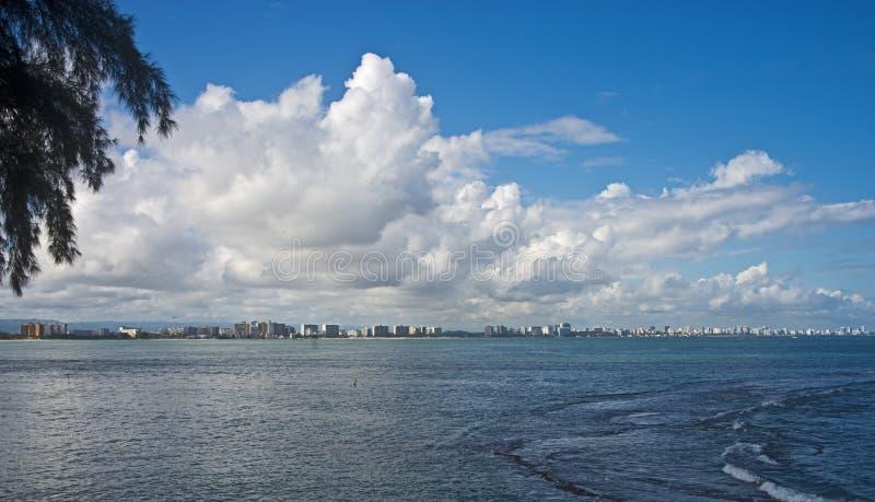 Från Isla Verde till Condado San Juan, Puerto Rico arkivfoton