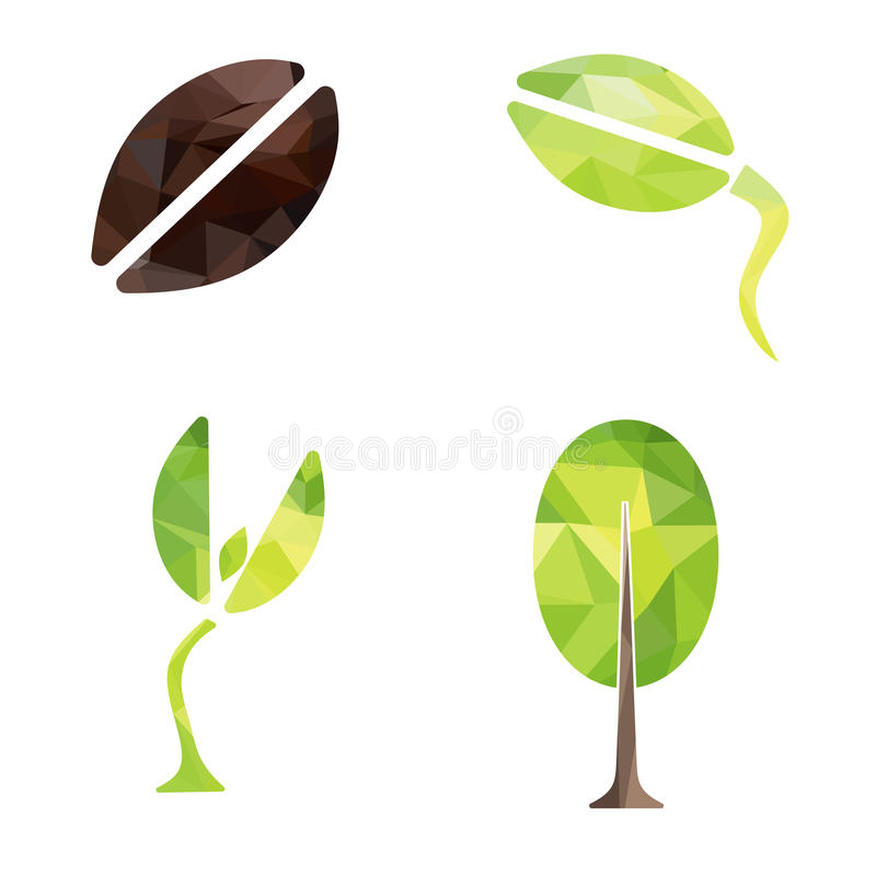 Från kärna ur till vektorn för symbolen för designen för trädgeometriform royaltyfri illustrationer
