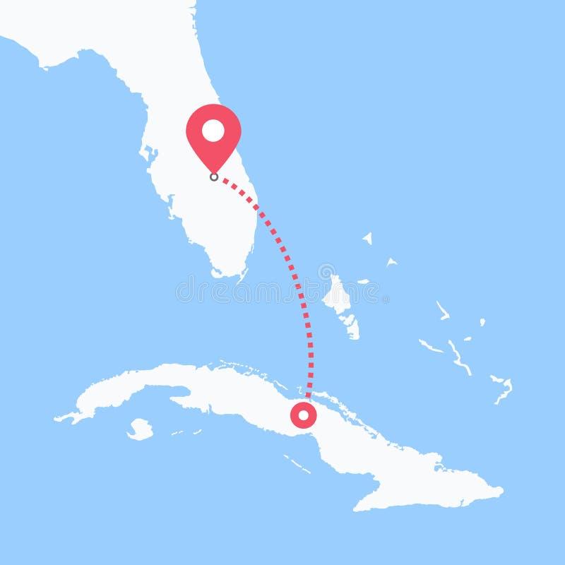 Från Kuba till USA vektor illustrationer