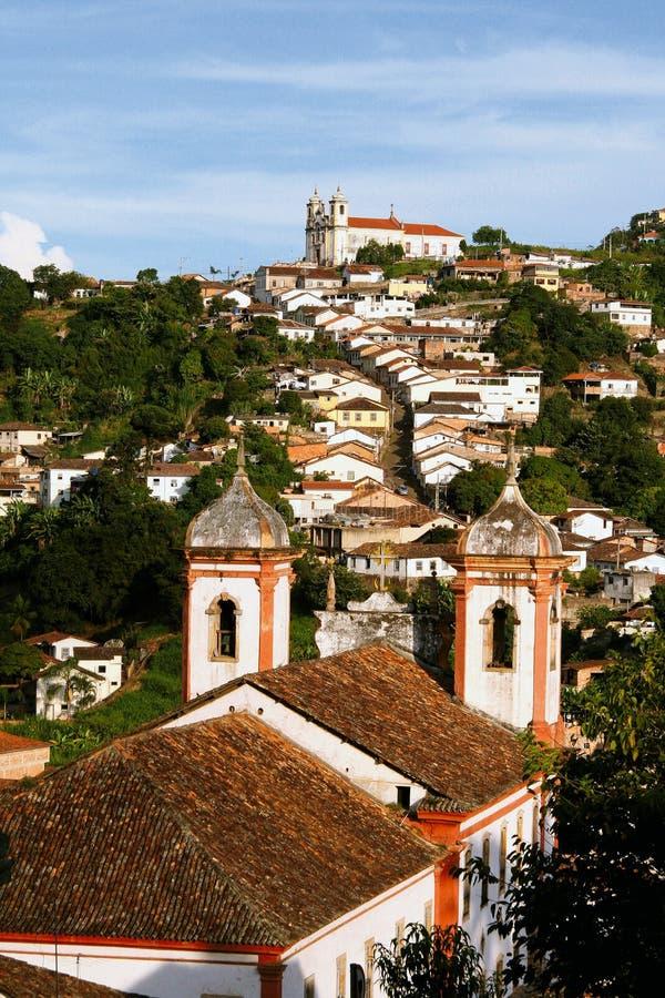 Från kyrkan som kyrktar i Ouro Preto fotografering för bildbyråer