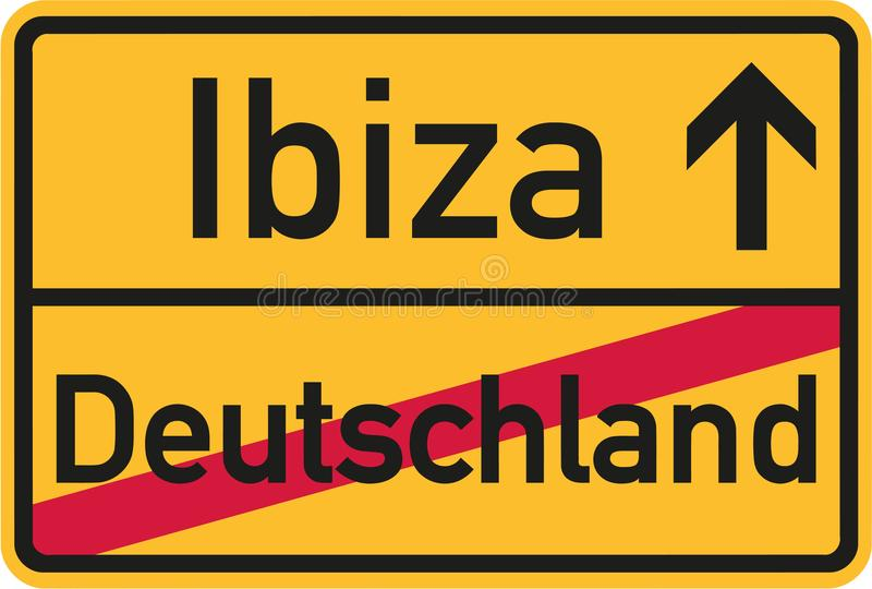Från Tyskland till Ibiza med det tyska tecknet vektor illustrationer